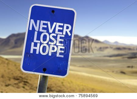 Never Lose Hope sign with a desert background