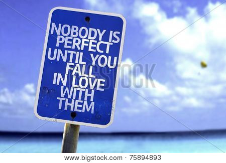 Nobody is Perfect Until You Fall In Love With Them sign with a beach on background