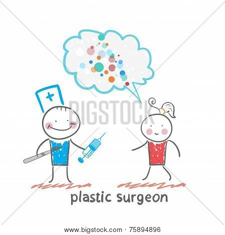 plastic surgeon holding a scalpel and syringe and listens to the patient