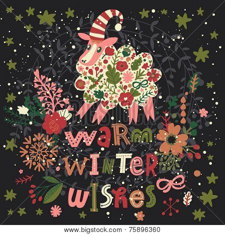 Warm winter wishes concept card in bright colors. Cute New 2015 Year card with Sheep symbol, stars, flowers and cartoon text in vector