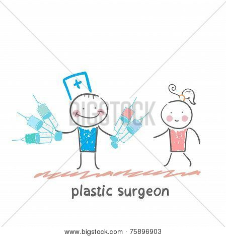 plastic surgeon holding syringe and stands next to the patient