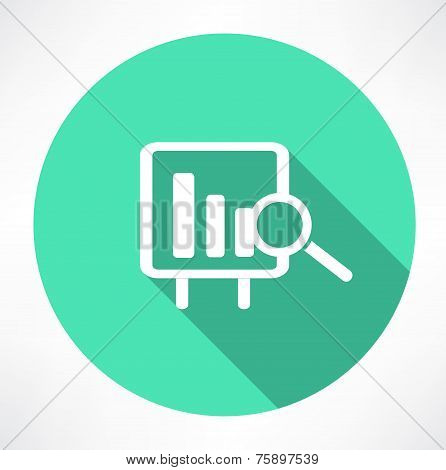 Financial graph with a magnifying glass icon
