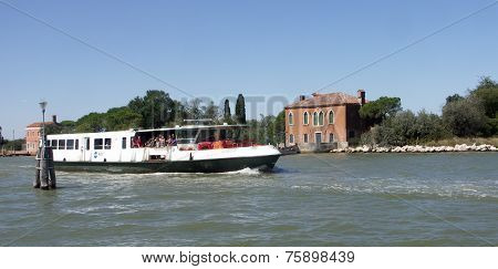 Vaporetto approaching the Island of Burano Venice.