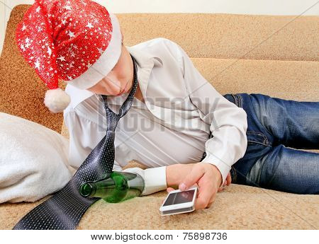 Drunken Teenager In Santa Hat