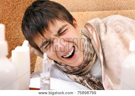Sick Teenager Yawning