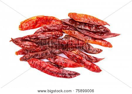 Chile de arbol seco dried hot Arbol pepper on white background