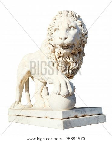 Medici Lion With Sphere Isolated On White