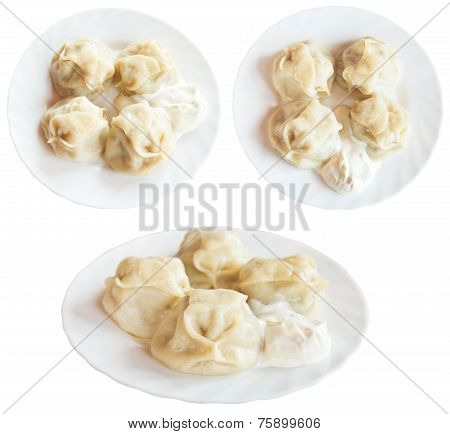 Three Plates With Manti Dumpling Isolated