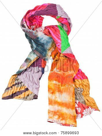 Knot From Patchwork And Batik Silk Scarf Isolated