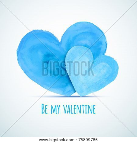 Vector Watercolor Hearts For Homosexual Couple's Valentine's Day Card Designs