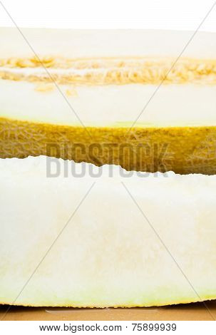 Sliced Uzbek-russian Melon Close Up Isolated