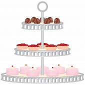 picture of cake stand  - A three tiered dessert stand filled with assorted cakes - JPG