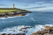 pic of hercules  - Tower of Hercules the almost 1900 years old and rehabilitated in 1791 55 metres tall structure is the oldest Roman lighthouse in use today and overlooks the Atlantic coast of Spain from A Coruna - JPG