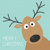 stock photo of deer horn  - Cute cartoon deer face with horn Merry christmas background card Flat design Vector illustration - JPG