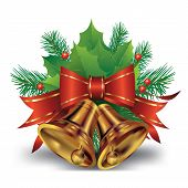 picture of christmas bells  - Christmas bell with bow and christmas tree decorations - JPG