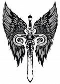 foto of longsword  - Vector illustration of tattoo sword for your design - JPG