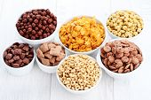 foto of cereal bowl  - bowl full of various cereals  - JPG