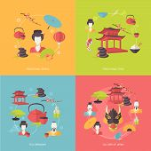 picture of geisha  - Japan travel icons flat set with traditional geisha food tea ceremony culture isolated vector illustration - JPG