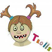 stock photo of troll  - Scary girl troll - JPG