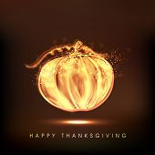 image of happy thanksgiving  - Happy Thanksgiving Day celebration concept with shiny golden pumpkin on brown background - JPG