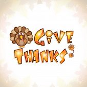 picture of acorn  - Stylish text of Give Thanks with acorn fruits and turkey bird on maple leaves decorated background for Thanksgiving Day celebration - JPG