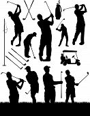 stock photo of golf bag  - Vector golf elements and silhouettes - JPG