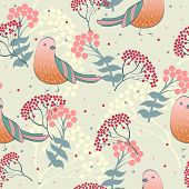 stock photo of rowan berry  - Seamless pattern  with rowan berries and bird - JPG
