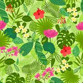stock photo of jungle flowers  - Seamless pattern with tropical plants - JPG