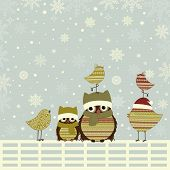 pic of bird fence  - Christmas greeting card with birds on fence - JPG
