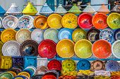 image of eastern culture  - Colourful and stylish ceramics on the market Djerba Tunezi Africa - JPG