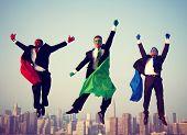 picture of superhero  - Superhero Businessmen New York Flying Concept - JPG