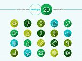 foto of ecology  - Go green environment and ecology outline flat icons set for web and mobile app - JPG