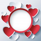 Постер, плакат: Valentines Day Background Frame With 3D Hearts