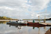 picture of kama  - The ferry barge with a pusher at the river kama in russia - JPG
