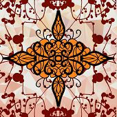 image of symmetry  - Symmetry ornamental design over triangles background with blots - JPG
