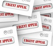 stock photo of soliciting  - Urgent Appeal words on letters or envelopes in a pile to illustrate important pleas - JPG