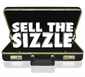 Sell the Sizzle 3d words in a black leather briefcase for a sales presentation that touts the custom poster
