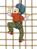 stock photo of climbing wall  - Illustration Featuring a Boy Climbing a Net Wall - JPG