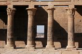 stock photo of ptolemaic  - West Colonnade of the Temple of Isis on the Philae Island near Aswan - JPG