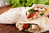 stock photo of sandwich wrap  - Chicken fajita wrap sandwich - JPG