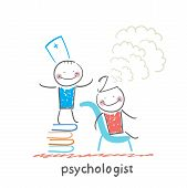 image of psychologist  - psychologist is on a stack of books and produces steam from the patient - JPG