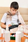 picture of home remedy  - Sick Teenager checking the Wallet on the Sofa at the Home - JPG
