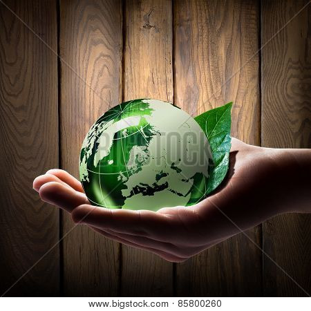 green world in the hand