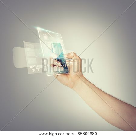 close up of man hand with smartphone and virtual screen