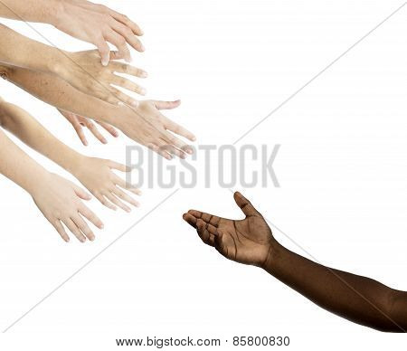 Caucasian hands reaching for african descent hand