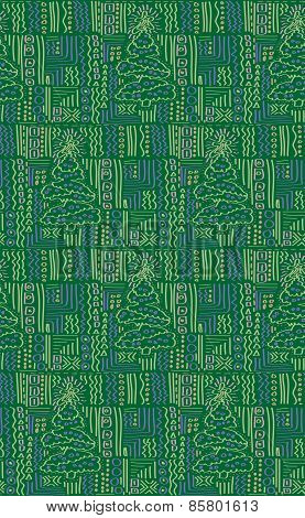 Wrapping Paper Christmas Tree Green