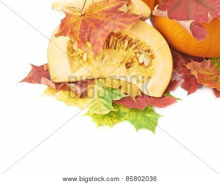 Slices of orange pumpkin in maple leaves