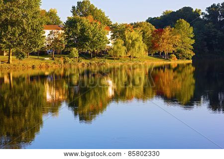 Autumn in a front lake community of Northern Virginia US.