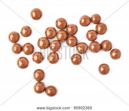 Multiple chocolate ball candies isolated