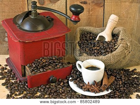 coffee grinder on background